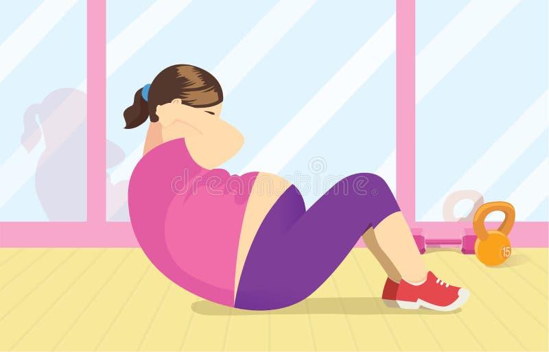 Ejercicio gordo de la mujer con hacer crujido en el gimnasio libre illustration