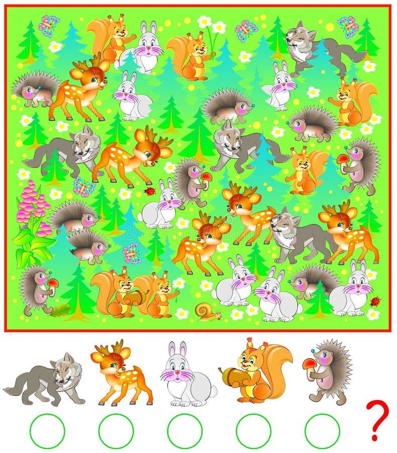 Ejercicio para los niños jovenes Necesite contar los animales en el bosque y escribir los números de correspondencia en círculos ilustración del vector
