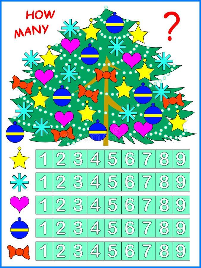 Ejercicio para los niños jovenes Necesite contar los juguetes en el número de correspondencia del árbol de navidad y de la pintur stock de ilustración