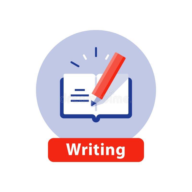 Ejercicio y escritura creativa, libro abierto, concepto sumario, educación escolar, icono de la narración del vector stock de ilustración