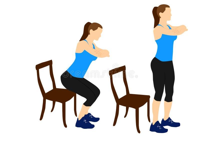 Ejercicios de la aptitud de la mujer: Siéntese en la silla libre illustration