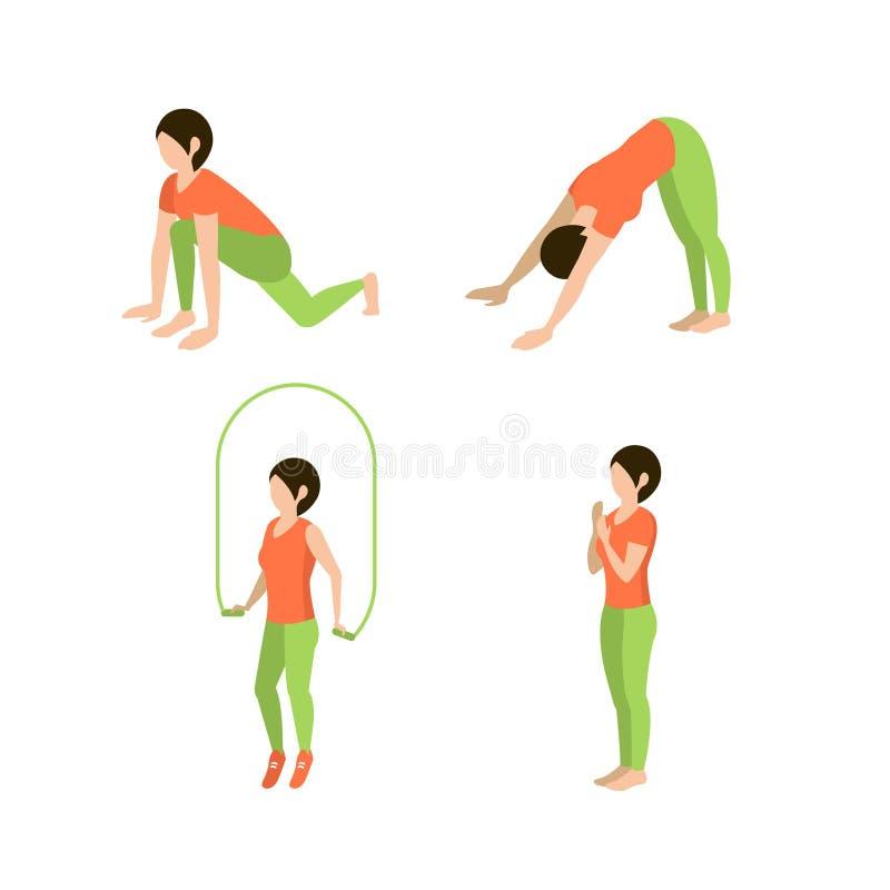 Ejercicios de la aptitud para las mujeres, sistema del vector stock de ilustración