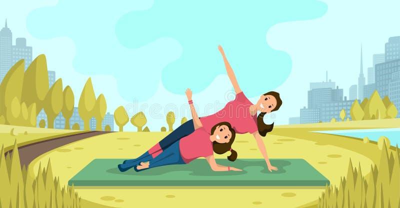 Ejercicios de la yoga de la familia en vector plano del aire fresco ilustración del vector