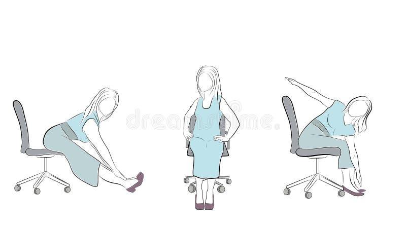 Ejercicios en la oficina en una silla Ejercicios para la relajación Vector libre illustration