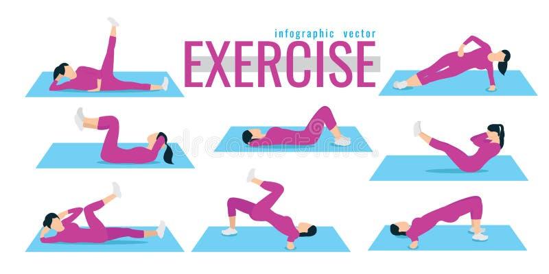 ejercicios mujer delgada en el traje que hace entrenamiento de la aptitud Active a libre illustration