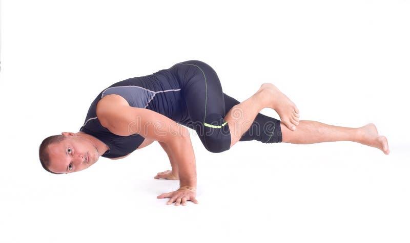 Ejercicios practicantes de la yoga:  Actitud del desafío - Koundiyanasana foto de archivo