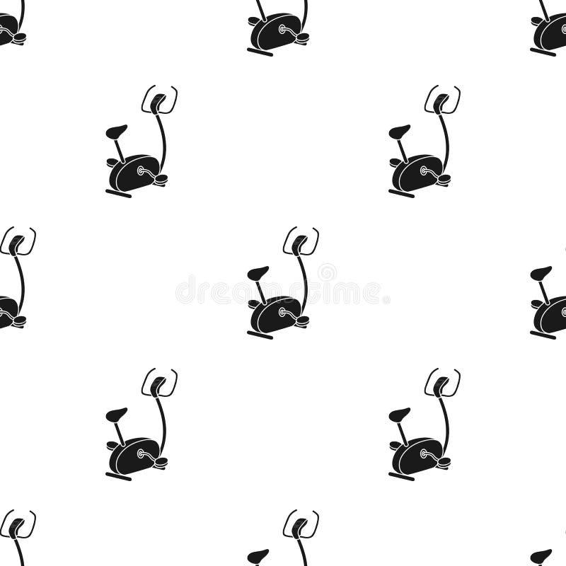 Ejercite el icono de la bicicleta en estilo negro aislado en el fondo blanco Ejemplo del vector de la acción del modelo del depor ilustración del vector