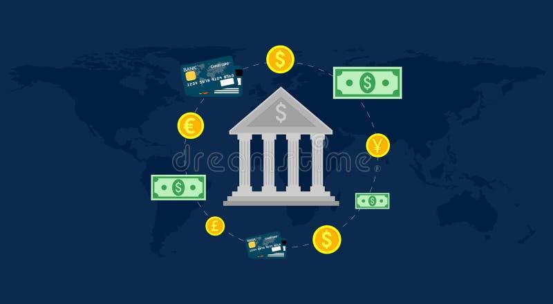 Ejerza la actividad bancaria, mercado de divisas global, depositando comercio, sistema bancario Ilustración del vector stock de ilustración