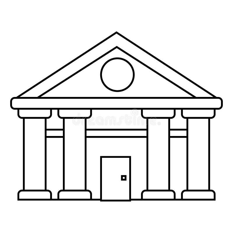 Ejerza la actividad bancaria, Tribunal de línea icono, muestra, ejemplo del vector de la Justicia en el fondo, movimientos editab stock de ilustración