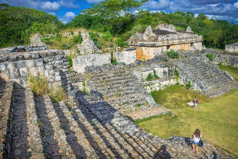 Ek Balam Mayan arkeologisk plats Maya Ruins Yucatan, Mexico royaltyfria foton