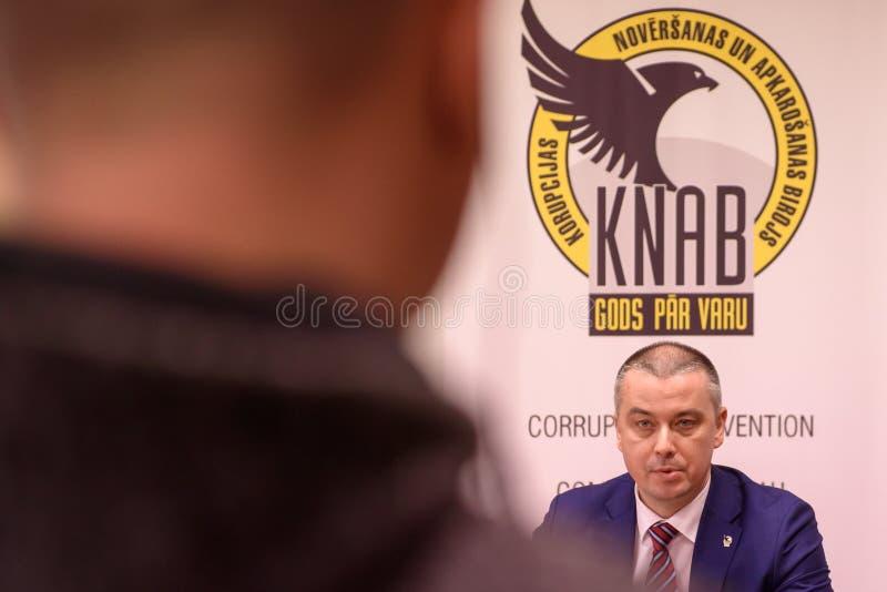 Ekabs Straume, głowa korupci zapobieganie KNAB Zwalczać biuro republika Latvia i obraz royalty free