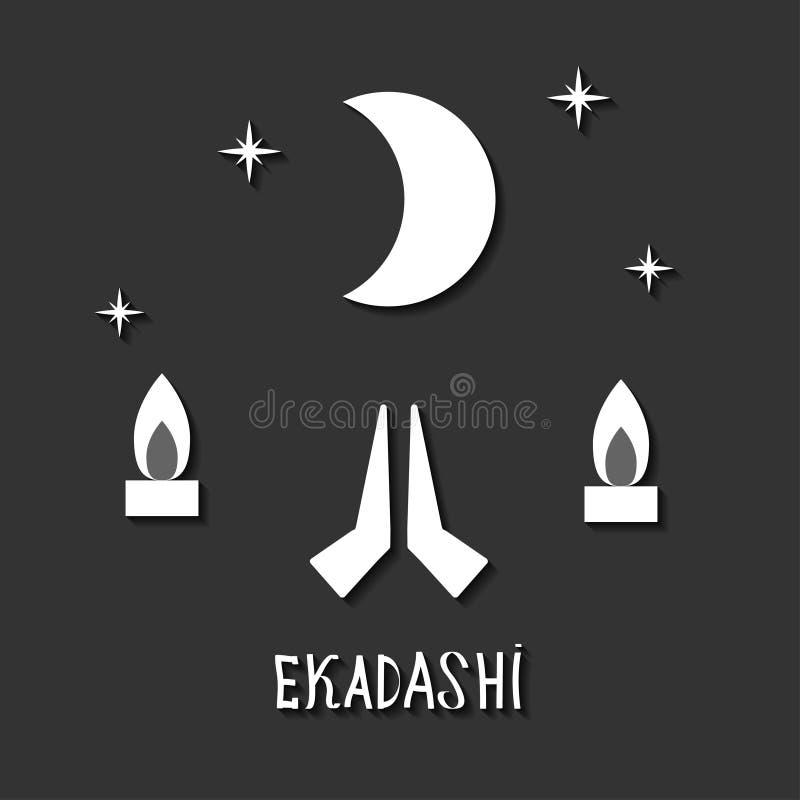 Ekadasi. the eleventh day. Hindu holiday. Black background. vector illustration. stock illustration
