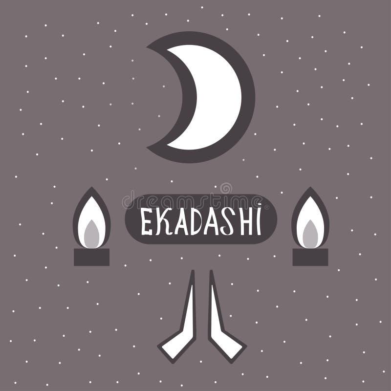 Ekadasi. the eleventh day. Hindu holiday. Shadow on a dark background. vector illustration. Ekadasi. the eleventh day. Hindu holiday. Shadow on a dark royalty free illustration