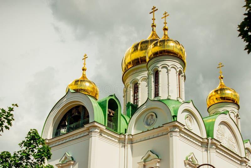 Ekaterina katedra z Złotymi kopułami pushkin Rosja zdjęcie stock