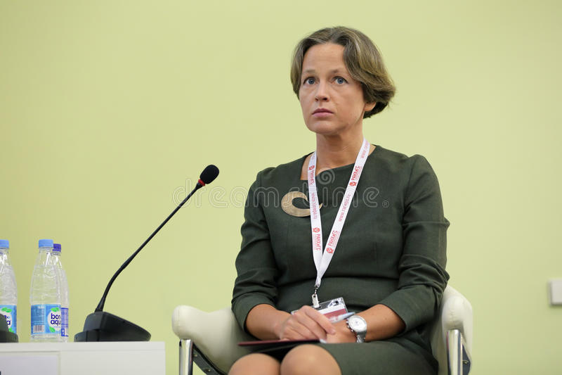 Ekaterina Trofimova. MOSCOW, RUSSIA - JAN 13, 2017: Ekaterina Vladimirovna Trofimova, the General Director of the Analytical credit rating agencies ACRA at the royalty free stock photos