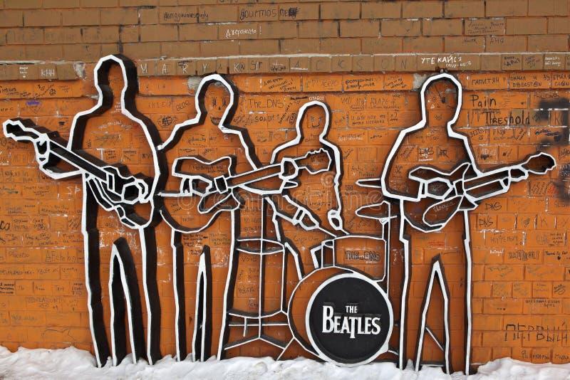 EKATERINBURG,俄罗斯- 2015年2月11日:纪念碑照片对Beatles的 免版税库存图片