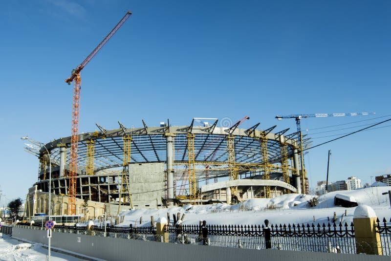Ekaterinburg 一个新的体育场的建筑2018年世界杯橄榄球的 图库摄影