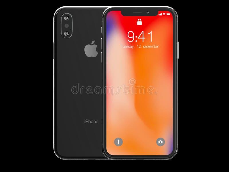 Ekaterinburg, Rússia - 14 de setembro: 3D rendem de um iPhone preto X com imagem editorial ilustrativa do logotipo de Apple Inc,  ilustração do vetor