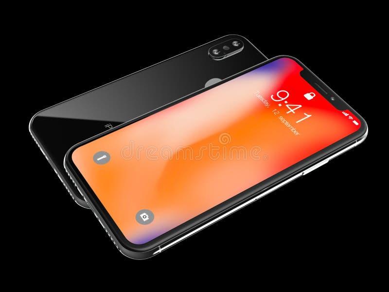 Ekaterinburg, Rússia - 14 de setembro: 3D rendem de um iPhone preto X com imagem editorial ilustrativa do logotipo de Apple Inc,  ilustração royalty free