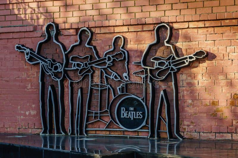 Ekaterinburg, Rússia - em junho de 2018: Monumento ao Beatles fotografia de stock