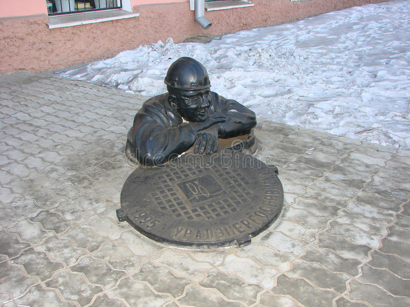 EKATERINBURG, RUSSLAND - 27. FEBRUAR 2012: Foto der Monumentklempnerarbeit lizenzfreies stockfoto