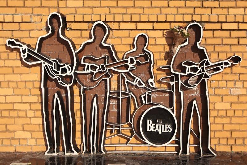 EKATERINBURG RYSSLAND - OKTOBER 21, 2015: Foto av monumentet till Beatleset royaltyfri foto