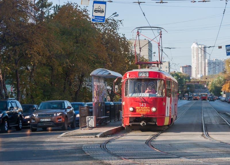 Ekaterinburg Ryssland - September 24,2016: Kollektivtrafik - en t royaltyfri bild