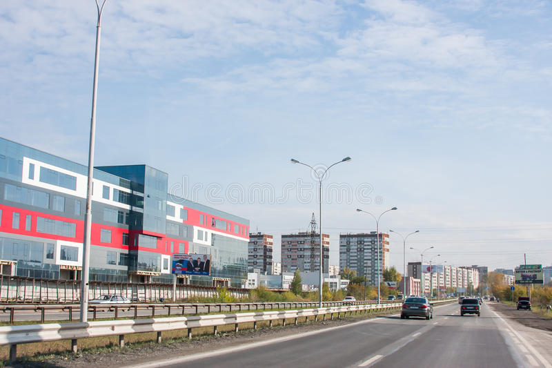 Ekaterinburg Ryssland - September 24,2016: Stadslandskap fotografering för bildbyråer