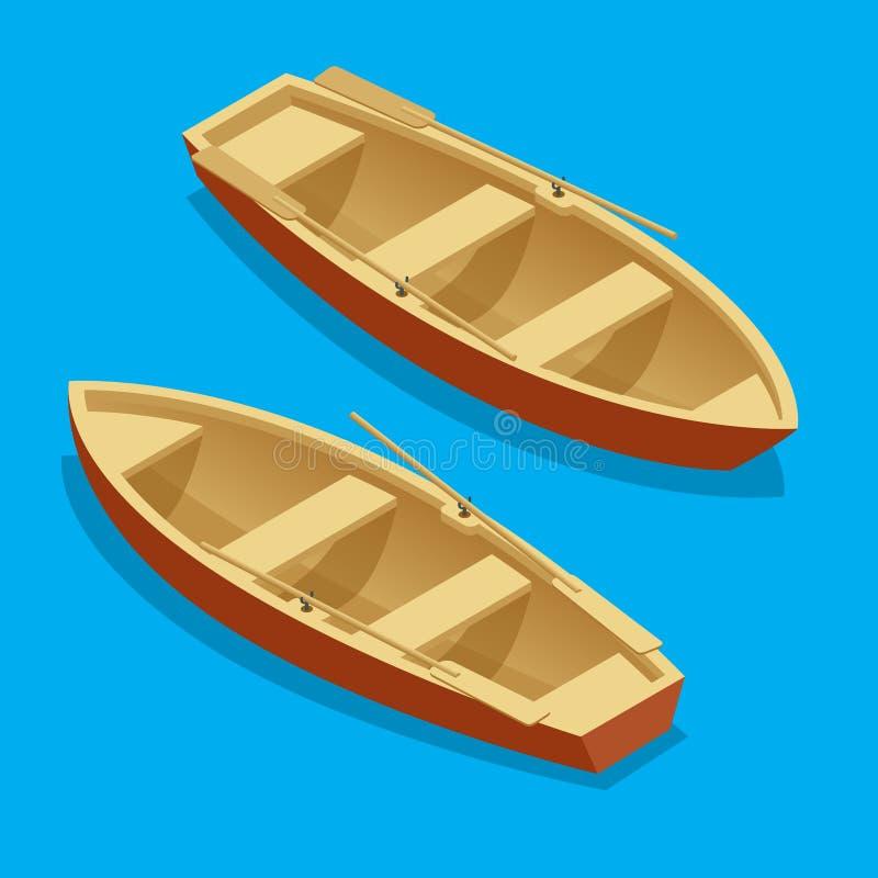 Ekauppsättning Träfartyg med isolerade skovlar Plan isometrisk illustration för vektor 3d stock illustrationer