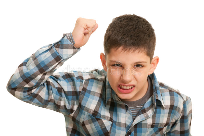 Ekelhafter Junge im Straßenkampf lizenzfreie stockbilder
