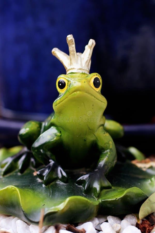 Ekelhafter Kuss Frosch-Prinzen im Garten lizenzfreies stockbild