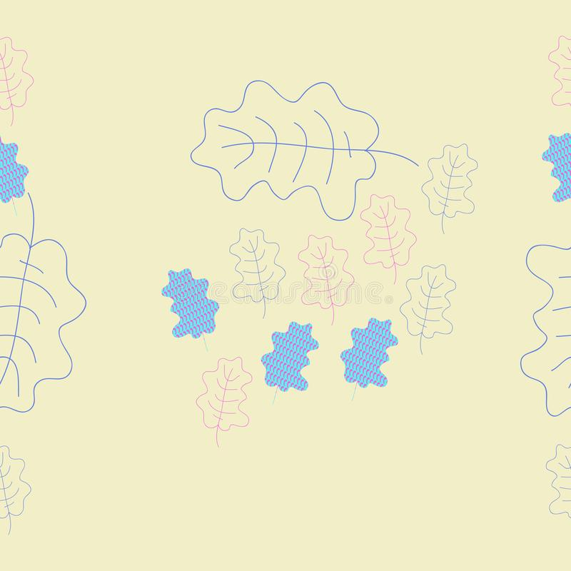 Eken lämnar den sömlösa modellen, gör randig, klottrar tecknad hand vektor illustrationer