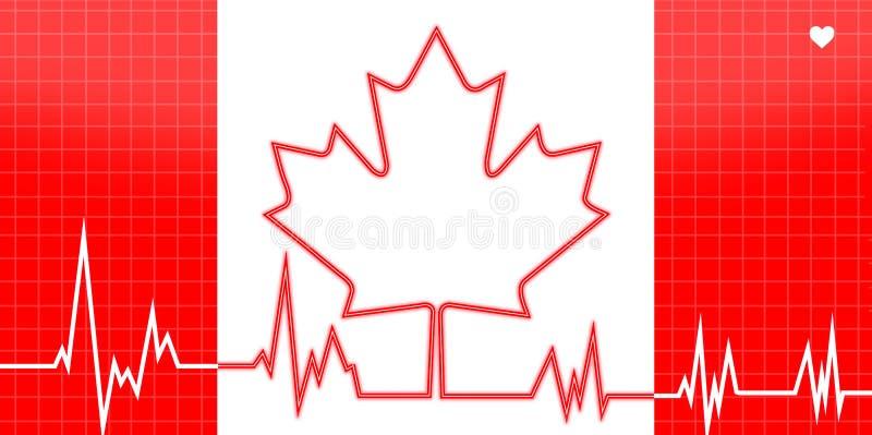 EKG与加拿大题材的心脏监护器 皇族释放例证