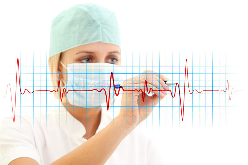 EKG. Female doctor in medical mask writing a cardiogram over white background