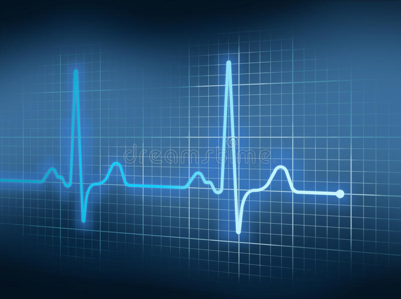EKG. Blue Electrocardiography Heart Beat Pulse on Graph royalty free illustration