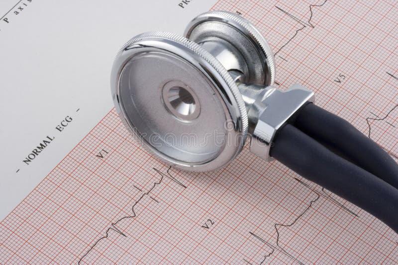 elettrocardiogramma e stetoscopio fotografie stock