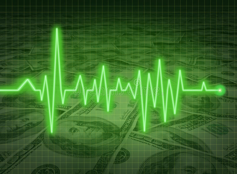 EKG ECG financial health economy money status savi royalty free illustration