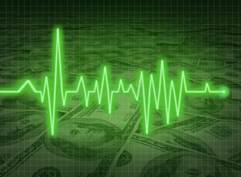 EKG ECG Finanzgesundheitswirtschaftlichkeitgeld-Status savi lizenzfreie abbildung
