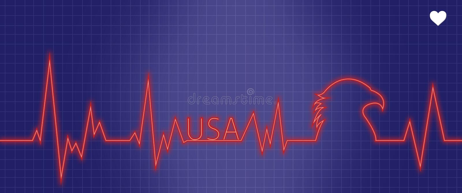 Medical EKG Heart Monitor With USA Theme stock illustration