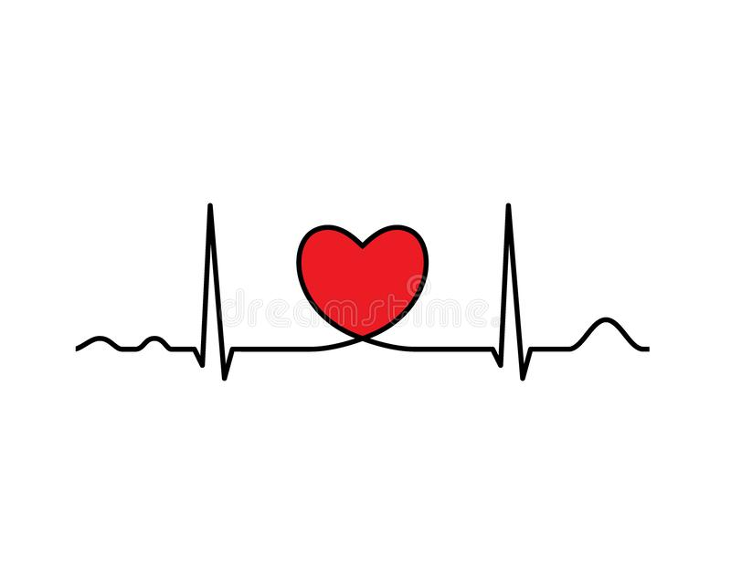 Ekg line with heart. Heartbeat. Electrocardiography. Medical design. Vector illustration royalty free illustration