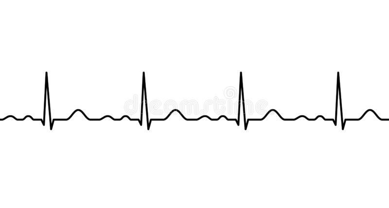 Ekg line. Heartbeat. Electrocardiography. Seamless line. Healthy heart. Medical design. Vector illustration stock illustration