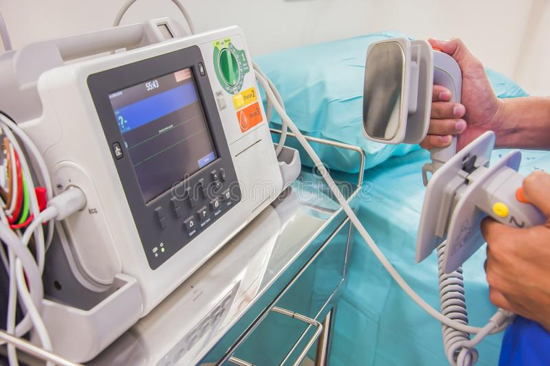 Medical room. EKG monitor and bed in medical room royalty free stock photography