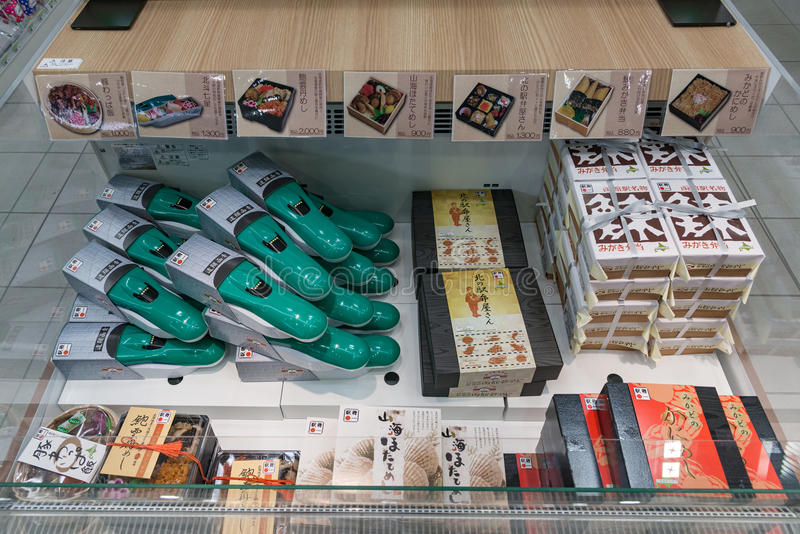Ekiben (铁路装箱的饭食)在便利商店 免版税库存照片