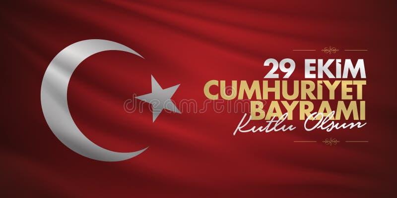 29 Ekim Cumhuriyet Bayrami Übersetzung: Am 29. Oktober Tag der Republik die Türkei und der Nationaltag in der Türkei, Anschlagtaf lizenzfreie abbildung