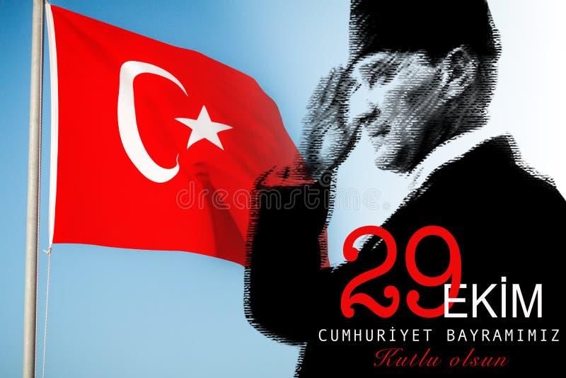 29 Ekim Cumhuriyet Bayrami, negenentwintigste van September, de Dag van de Republiek stock illustratie