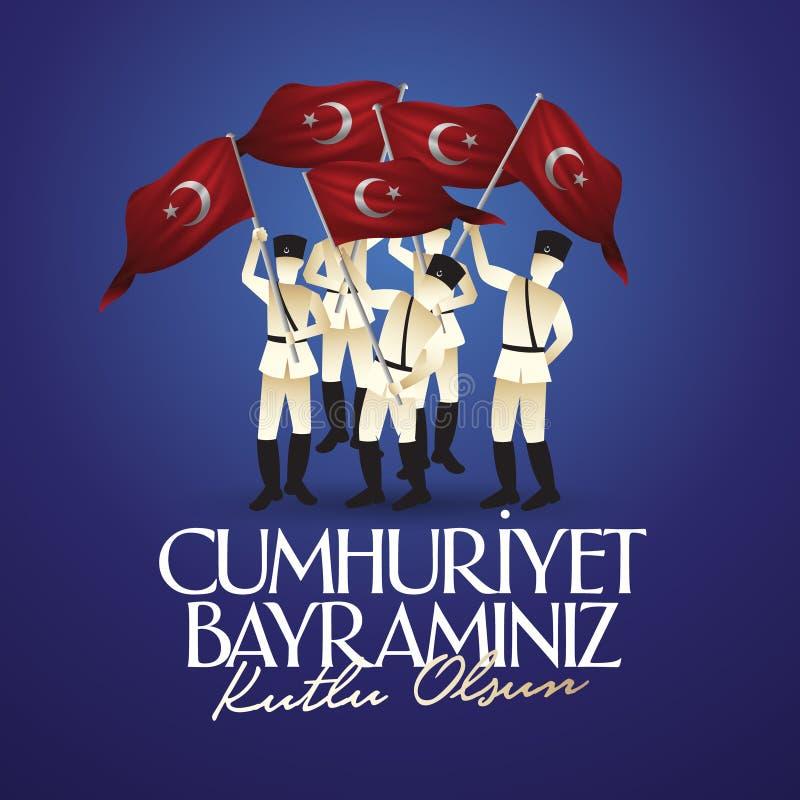 29 Ekim Cumhuriyet Bayrami RT: 29 oktober-Republiek Dag Turkije en de Nationale Dag in Turkije, het ontwerp van aanplakbordwensen royalty-vrije illustratie