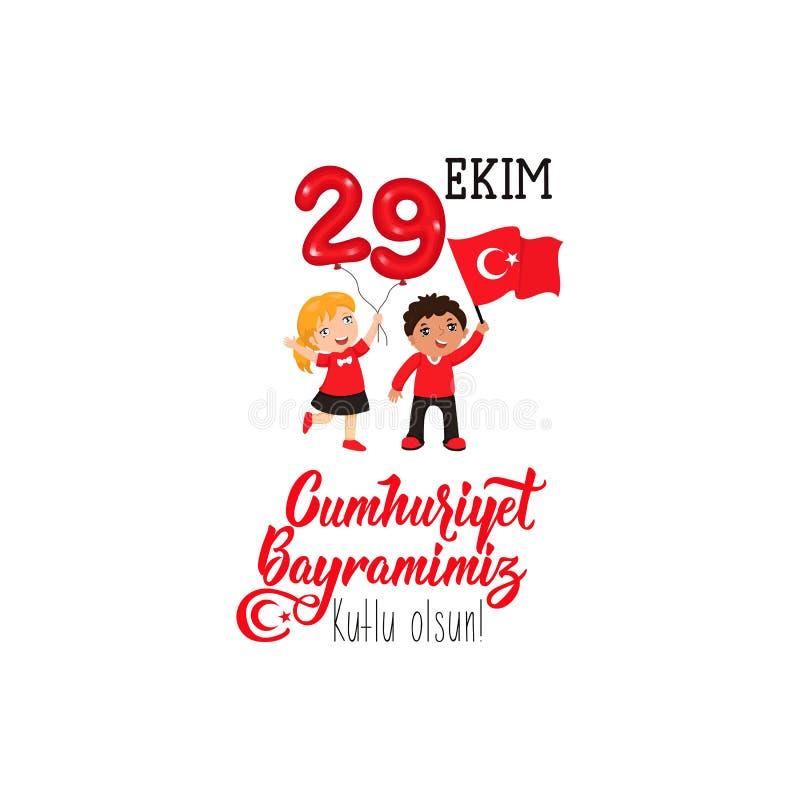 29 ekim Cumhuriyet Bayrami, Tag der Republik die Türkei 29. Oktober Tag der Republik die Türkei und der Nationaltag in der Türkei stock abbildung
