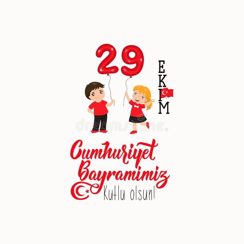 29 ekim Cumhuriyet Bayrami, Tag der Republik die Türkei 29. Oktober Tag der Republik die Türkei und der Nationaltag in der Türkei vektor abbildung