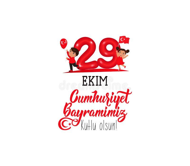 29 ekim Cumhuriyet Bayrami, Tag der Republik die Türkei 29. Oktober Tag der Republik die Türkei und der Nationaltag in der Türkei lizenzfreie abbildung