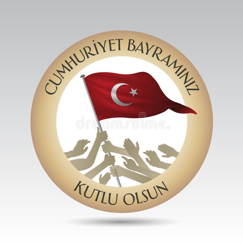 29 ekim Cumhuriyet Bayrami. Translation: 29 october Republic Day Turkey and the National Day in Turkey. stock illustration